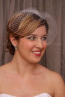 wedding photo - Wedding Veil, Birdcage Veil,  Rhinestone Birdcage Veil, Wedge Bridal Veil, White, Diamond White, Ivory, Champagne, Black, 29 Colors