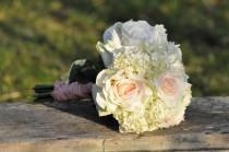 wedding photo - Blush roses and hydrangea wedding bouquet made of silk flowers.