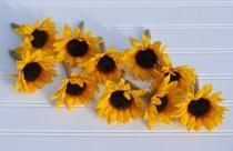 wedding photo - Wedding Flowers, Fall Wedding, Country Wedding, Sunflower boutonniere wrapped in burlap ribbon.