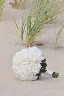 wedding photo - Silk Wedding Bouquet, Wedding Bouquet, Keepsake Bouquet, Bridal Bouquet, Ivory Rose Wedding Bouquet made of silk flowers.