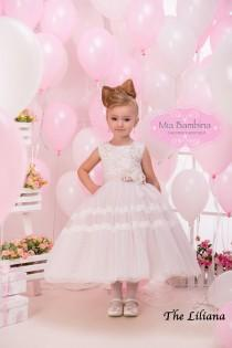 wedding photo - Flower Girl Dress, Baby girl dress, Blush flower girl dress, ivory tulle dress, lace flower girl dress, country flower girl dress