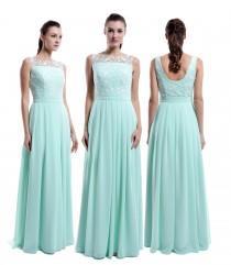 wedding photo - Mint Long Lace Chiffon Bridesmaid Dress, Straps Bateau Neck Cheap Lace Bridesmaid Dress, Mint Prom Dress