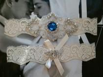 wedding photo - Wedding Garter, Bridal Garter, Garter  Set - Something Blue on a Ivory Lace with Rhinestone - Style G2033