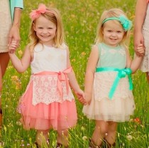 wedding photo - Beautiful Lace and Tulle flower girl dress, available in mint or pink