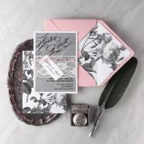wedding photo - Wedding Invitation Suite (20), Vintage Pink Invitations, Lace Grey Pink Invitation, Floral Wedding Invitation, Botanical Roses  Invites