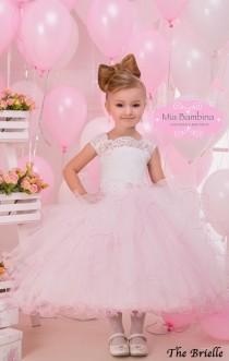 wedding photo - Pink Flower Girl Dress, Baby girl dress, Blush flower girl dress, ivory tulle dress, lace flower girl dress, country flower girl dress