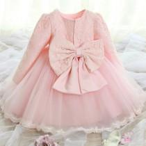 wedding photo - Long Sleeves Lace Flower Girl Dress, Birthday Party Dress, Communion Dress,white and pink available