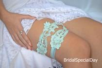 wedding photo - Wedding Garters, Mint Garter Set, Bridal Garter, Lace Wedding Garter, Wedding Garter Set, Wedding Garter Mint, Toss Garter, Handmade Bridal