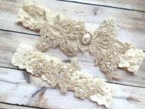 wedding photo - Gold Wedding Garter, Gold Bridal Garter, Lace Bridal Garter, Lace Wedding Garter, Gold Garters, Leg Garter Gold, Garter Set Gold, Garters