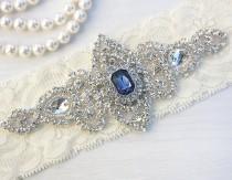 wedding photo - SALE - Best Seller - CHLOE II - Sapphire Blue Wedding Garter, Wedding Ivory Lace Garter, Rhinestone Crystal Bridal Garter, Something Blue