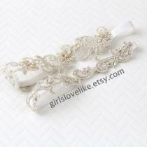 wedding photo - Light Gold Beaded  Lace Wedding Garter Set, Champagne Bridal Garter, Keesake Garter, Toss Garter, GT-21