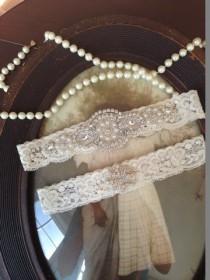 wedding photo - SALE-Wedding Garter - Ivory Lace Garter Set - Rhinestone Garter - Applique Garter - Vintage - Bridal Garter - Vintage Garter - Toss Garter