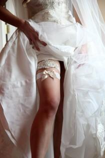 wedding photo - SALE-Wedding Garter-Garter-Bridal garter-Ivory Lace-Rhinestone-Applique-Stretch lace-weddings-brides-garters-rhinestone applique-pearl