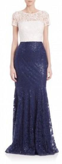 wedding photo - David Meister Sequined Lace Two-Tone Gown