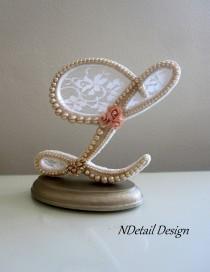 wedding photo - Wedding Cake Topper: Monogram Pearl Letter L// Ivory, White Lace & Blush Pink Rose// Vintage, Rustic or Shabby Chic Bridal Shower Cake Gift