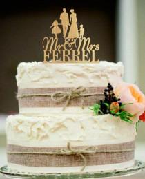 wedding photo - Bride and Groom Wedding Cake topper,Family Wedding Cake Topper a little girl and a little boy,Mr and Mrs Cake topper,Unique Rustic wedding