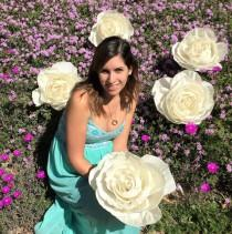 wedding photo -  5 Giant crepe paper flowers, Large 11 inch paper Roses, Oversize paper flowers, Giant crepe paper flowers in your choice of colors