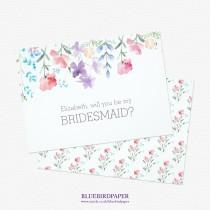 """wedding photo -  Rustic Floral """"Will you be my bridesmaid?"""" invitation"""