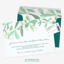 wedding photo -  Mediterranean | Modern Foliage Wedding Invitation