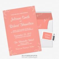 wedding photo -  Simple and Elegant Coral Pink Wedding Invitations