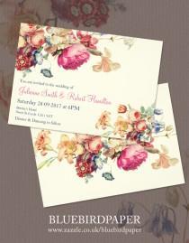 wedding photo -  Antique Garden | Floral  Vintage Wedding Invitations