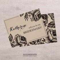 "wedding photo -  Rose Garden   Rustic ""will you be my bridesmaid?"" invitation"