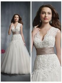 wedding photo - Re-embroidered Lace Designer Wedding Dress Alfred Angelo 2243