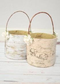 wedding photo - Set of 2 flower girl baskets - boho chic