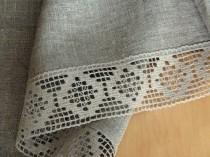 """wedding photo - Tablecloth Natural Gray Lace Tablecloth mothers day gift Linen Tablecloth Burlap Tablecloth Prewashed Linen Lace 75"""" x 58"""""""