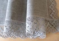 """wedding photo - Tablecloth Wedding Tablecloth Lace Tablecloth mothers day gift Linen Tablecloth Burlap Tablecloth Prewashed Linen Lace 120"""" x 60"""""""