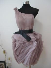 wedding photo - Vera Wang Inspired Organza Dark Rosy Wedding Dress