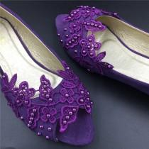 wedding photo - Purple Peep Toe Crystals Wedding Shoes,Bridal Ballet Shoes,Purple Lace Open Toe Flats Shoes,Women Wedding Shoes,Comfortable Bridal flats