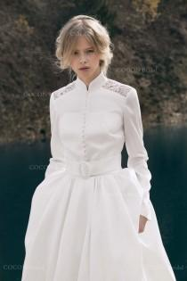"wedding photo - Winter Wedding Dress Designer Wedding Dress Gown Modern Wedding Gown Long sleeve Wedding dress with a bolero and coat- ""Corsica"""