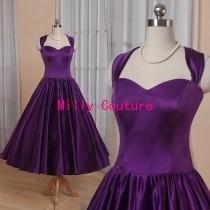 wedding photo - Halter sweetheart 1950's rockabilly bridesmaid dress, purple tea length bridesmaid dress, 50s prom dress, vintage short prom dress
