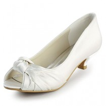 wedding photo - Peep Toe Low Heel Knot Wedding Shoes