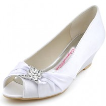 wedding photo - Peep Toe Rhinestone Mid Heel Wedges Knot Satin Wedding Shoes