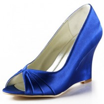 wedding photo - Peep Toe Wedge Heel Pleated Satin Shoes