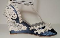 wedding photo - Navy Blue Three Inch Lace Wedding  Wedges Bride's Wedge Ivory Lace Blue Wedge Garden Wedge Sandal Bride's Wedding Shoes Bridal Shoes