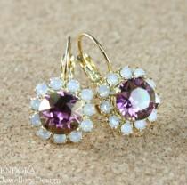 wedding photo - Purple earrings,Purple crystal earring,Gold leverback earring,Purple jewelry,Purple wedding,Purple bridesmaid earring,Radiant orchid jewelry