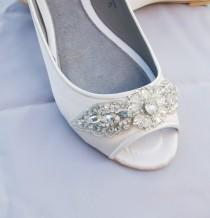 wedding photo - ivory or white bridal peep toe flat adorned with high couture handmade crystal trim - MARLIE