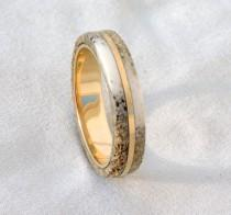 wedding photo - Bronze Ring, Deer Antler Ring, Ring Armor,