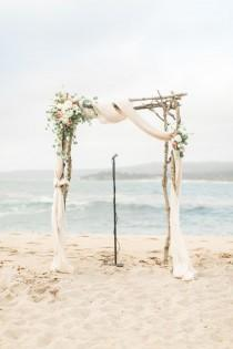 wedding photo - Pink Pastel Beach Wedding In Carmel