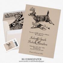wedding photo -  Woodland   Rustic Deer Wedding Invitation