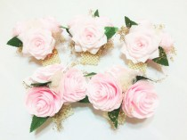 wedding photo -  Blush and gold paper Peony corsage, Mother's corsage, Pearl wrist corsage, Pin on corsage, Blush wedding corsages, Blush Prom corsage