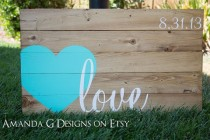 wedding photo - Guest Book Wood Sign With Hand Painted Wrap Around Heart, Guest Book Alternative