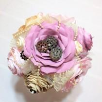 wedding photo -  Steampunk vintage bouquet, Paper flower bouquet, Alternative vintage themed bouquet, Cogs gears and lace bridal bouquet, Dusty Rose bouquet