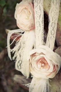 wedding photo - Vintage Wedding Flower Hair Piece Beige Cream Ivory Pearls Beads Photo Prop Easter Hair Clip Fabric Flower Children Newborn Flower Girl
