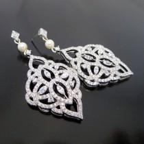 604030606 Chandelier Wedding earrings, Crystal Bridal earrings, Bridal jewelry, Art  Deco, Pearl earrings, Vintage style earrings, Long earrings, EMILY