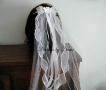 wedding photo - First Communion Veil ,White Satin Ribbon Flower on a Sheer Bow Veil with Ribbon and Pearl Streamers New