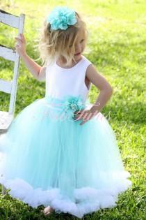 wedding photo - Couture Aqua / Robbin's Egg Blue Flower Girl / Special Occasion Tutu Dress By FabTutus - Jillian